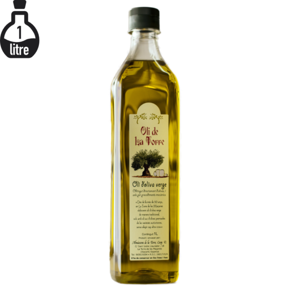 Botella d'Oli de La Torre de 1 litre. Verge. Imatge de producte.