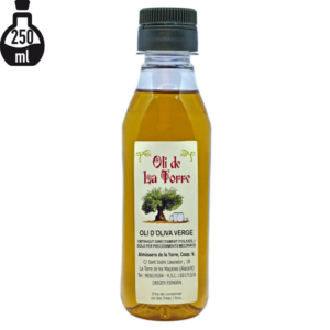 Botella d'Oli de La Torre de 250 ml. Verge. Imatge de producte.