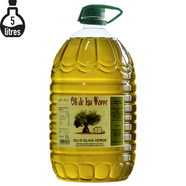 Botella d'Oli de La Torre de 5 litres. Verge. Imatge de producte.